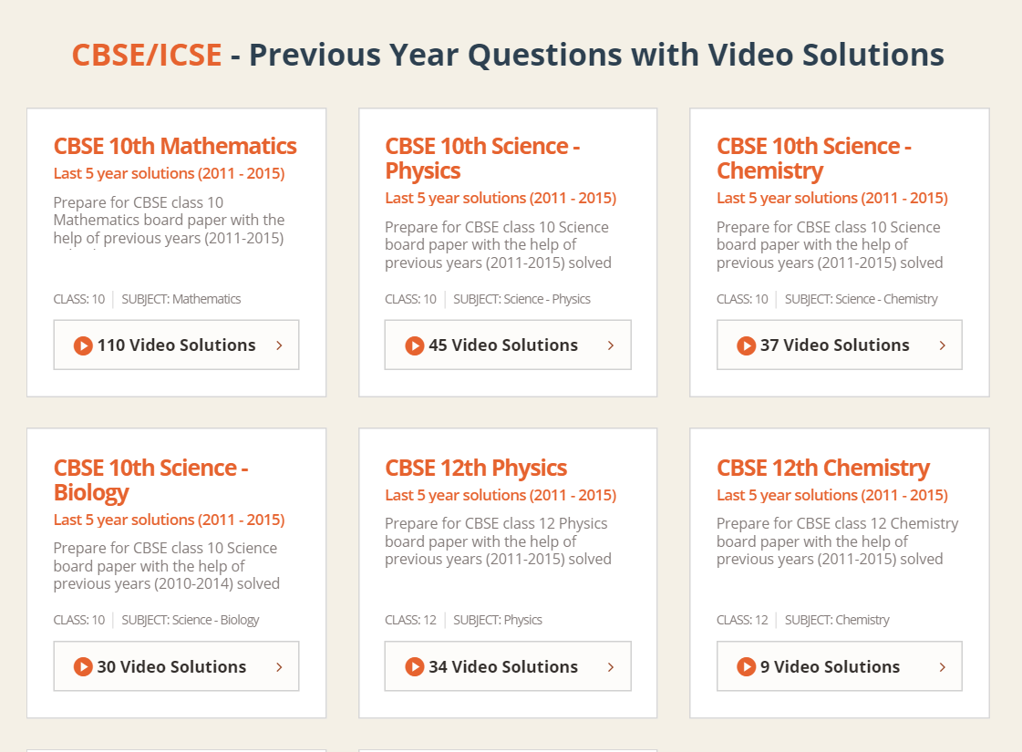 Video solutions to last 5 yr question papers launched vedantu blog once you click on any of the question paper bundles on your left you can see a drop down button that gives you the option to choose for a specific year malvernweather Images